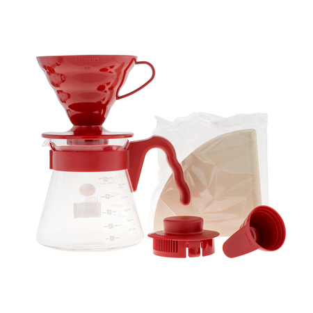Hario zestaw V60 Pour Over Kit Red - drip + serwer + filtry (1)
